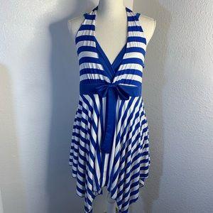 Just Flowers Blue & White Striped   V Neck Dress